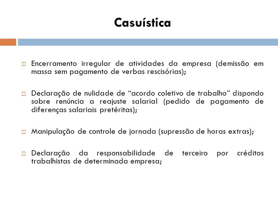 Casuística Encerramento irregular de atividades da empresa (demissão em massa sem pagamento de verbas rescisórias); Declaração de nulidade de acordo c