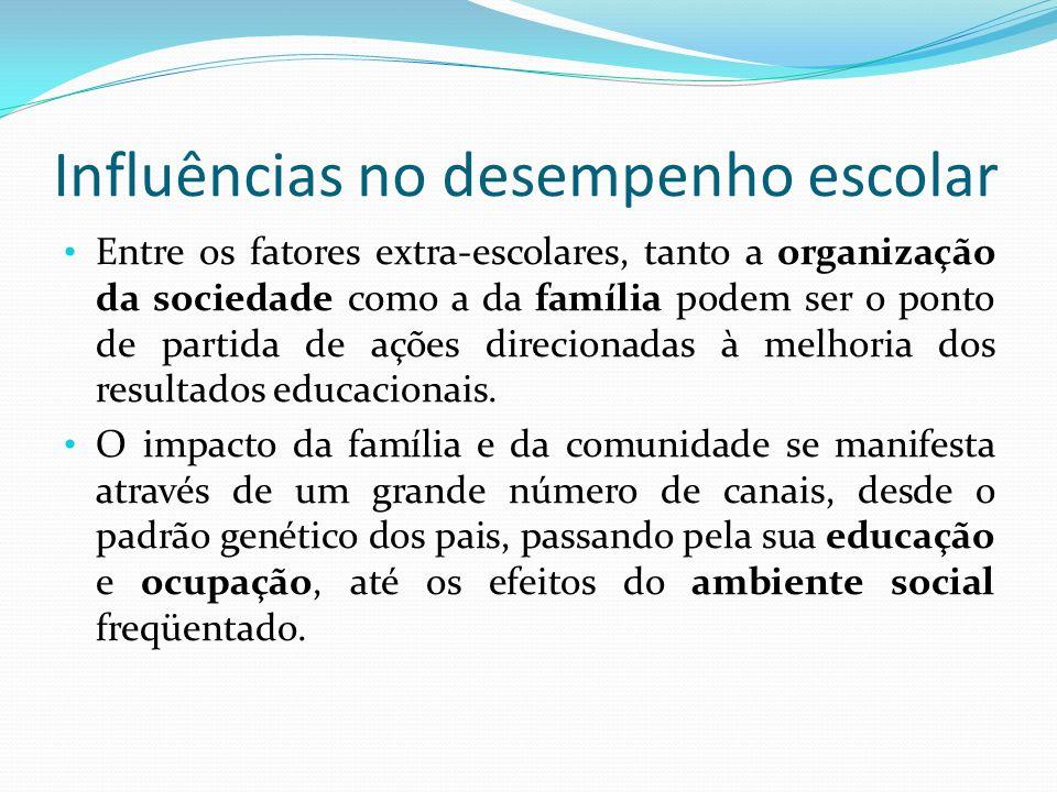 Entre os fatores extra-escolares, tanto a organização da sociedade como a da família podem ser o ponto de partida de ações direcionadas à melhoria dos