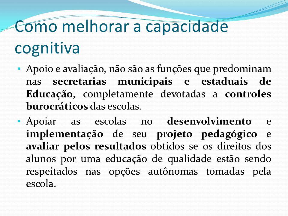 Como melhorar a capacidade cognitiva Apoio e avaliação, não são as funções que predominam nas secretarias municipais e estaduais de Educação, completa