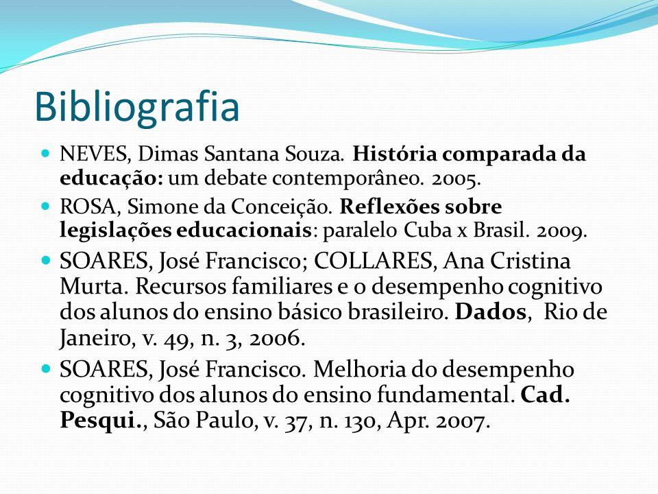 Bibliografia NEVES, Dimas Santana Souza. História comparada da educação: um debate contemporâneo. 2005. ROSA, Simone da Conceição. Reflexões sobre leg