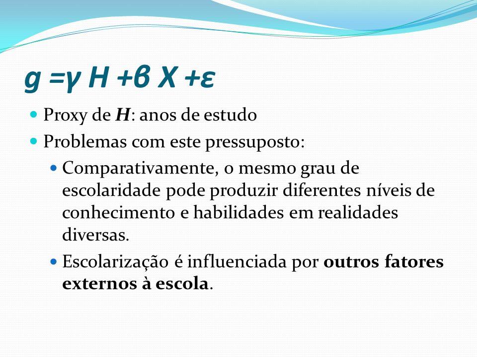 Fontes de acumulação de H H =δ 1 (qS) +δ 2 F +δ 3 A+v onde: S: anos de estudo q: qualidade da educação escolar F: fatores familiares A: outros atributos, como saúde, habilidades individuais, experiência no mercado de trabalho etc.