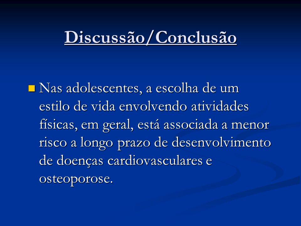 Discussão/Conclusão Nas adolescentes, a escolha de um estilo de vida envolvendo atividades físicas, em geral, está associada a menor risco a longo pra