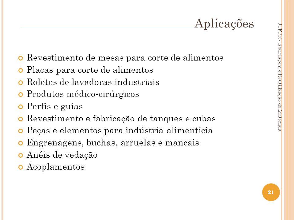 21 Aplicações Revestimento de mesas para corte de alimentos Placas para corte de alimentos Roletes de lavadoras industriais Produtos médico-cirúrgicos