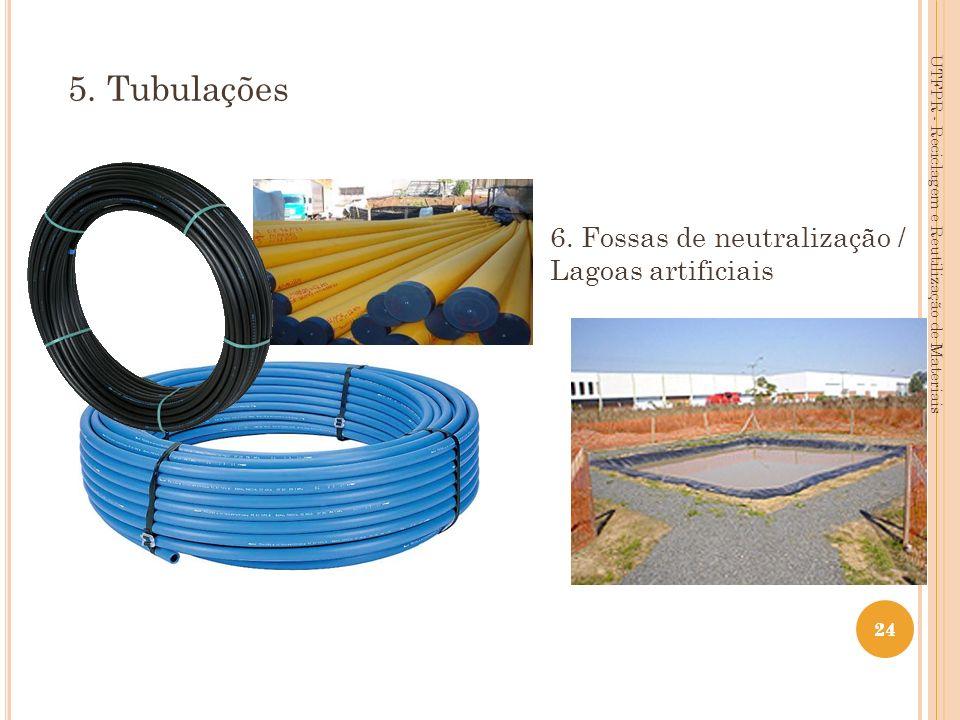 24 6. Fossas de neutralização / Lagoas artificiais 5. Tubulações UTFPR - Reciclagem e Reutilização de Materiais