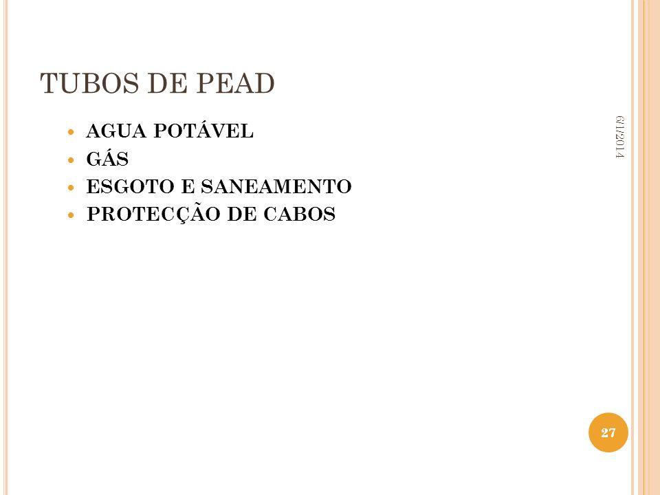 27 6/1/2014 27 TUBOS DE PEAD AGUA POTÁVEL GÁS ESGOTO E SANEAMENTO PROTECÇÃO DE CABOS