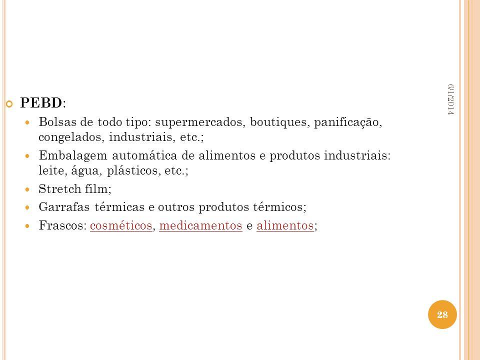 28 6/1/2014 28 PEBD : Bolsas de todo tipo: supermercados, boutiques, panificação, congelados, industriais, etc.; Embalagem automática de alimentos e p