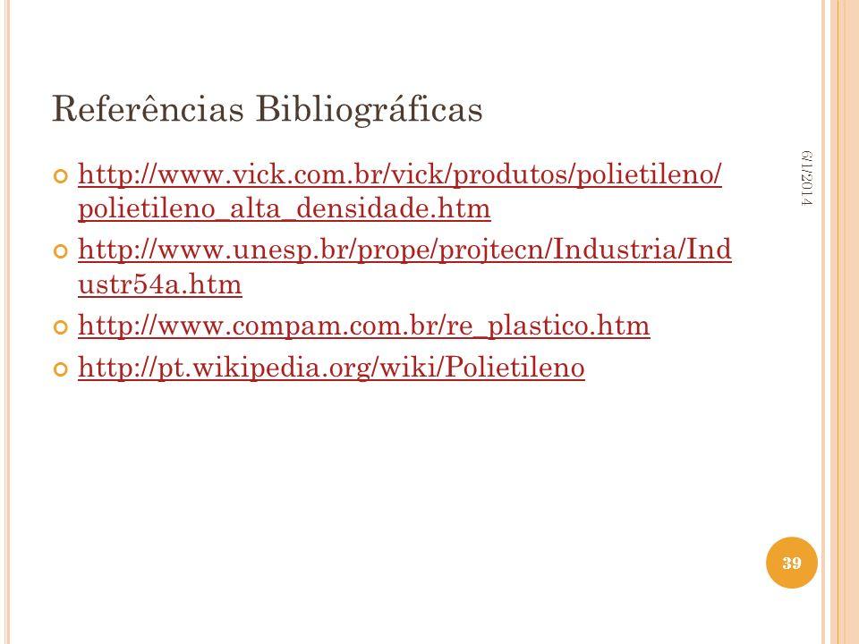 39 6/1/2014 39 Referências Bibliográficas http://www.vick.com.br/vick/produtos/polietileno/ polietileno_alta_densidade.htm http://www.vick.com.br/vick