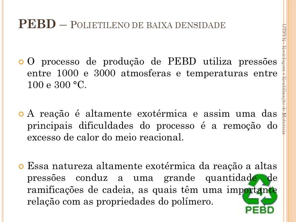 55 PEBD – P OLIETILENO DE BAIXA DENSIDADE O processo de produção de PEBD utiliza pressões entre 1000 e 3000 atmosferas e temperaturas entre 100 e 300