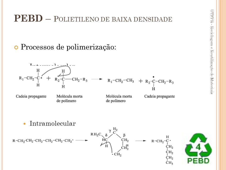 66 PEBD – P OLIETILENO DE BAIXA DENSIDADE Processos de polimerização: Intermolecular Intramolecular UTFPR - Reciclagem e Reutilização de Materiais