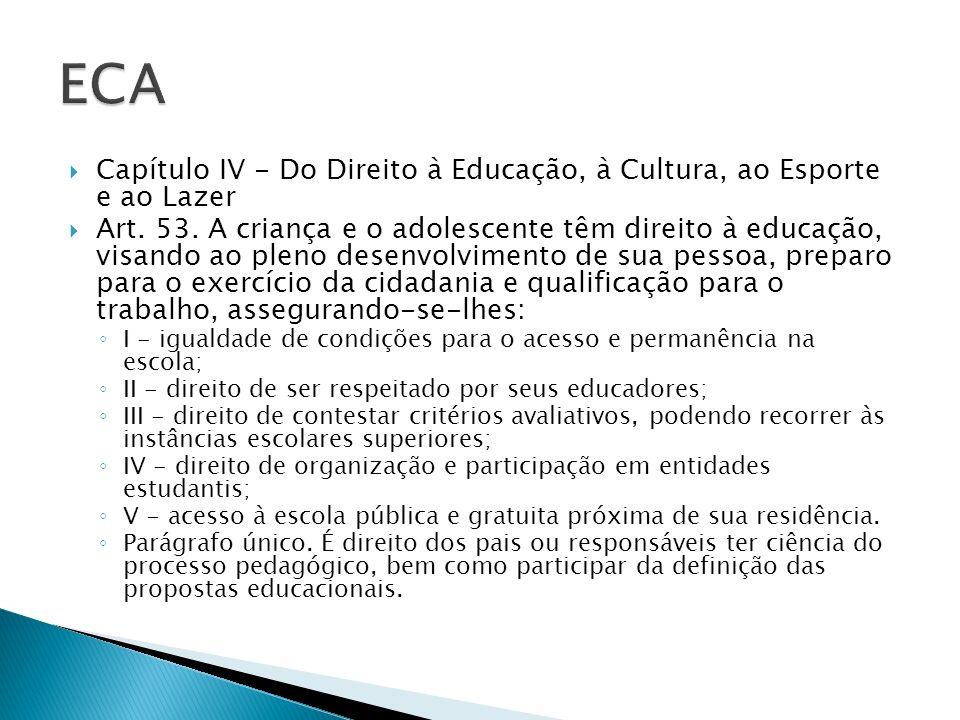 Capítulo IV - Do Direito à Educação, à Cultura, ao Esporte e ao Lazer Art. 53. A criança e o adolescente têm direito à educação, visando ao pleno dese