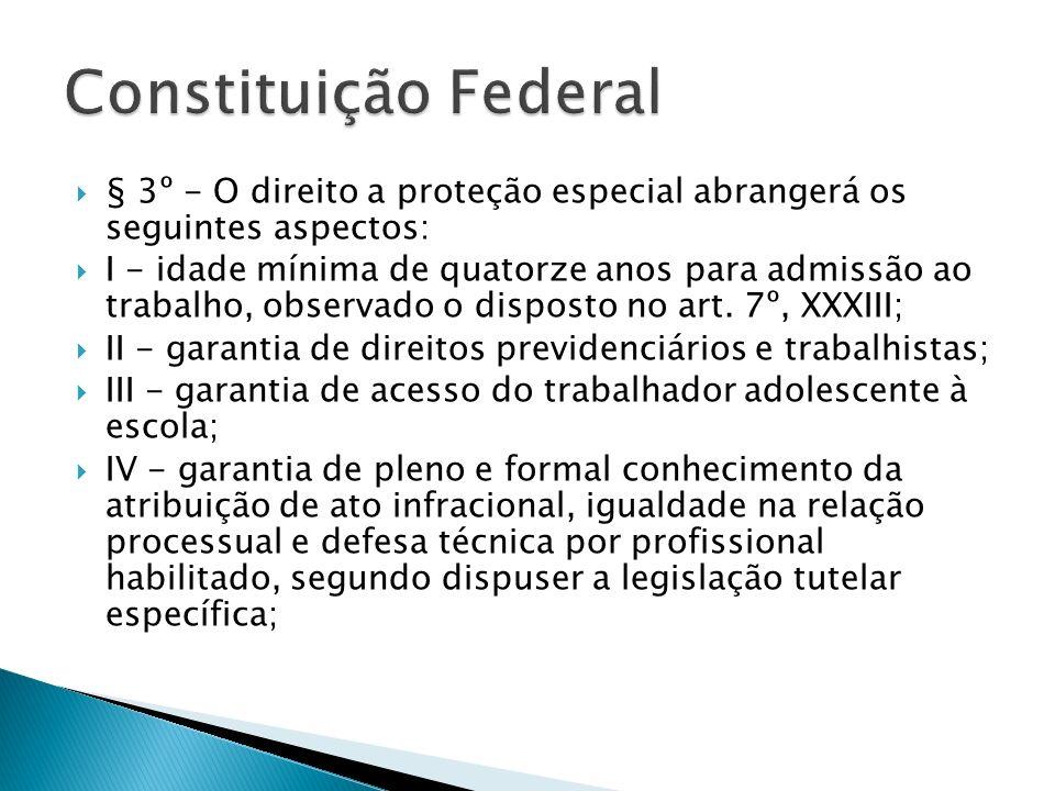 § 3º - O direito a proteção especial abrangerá os seguintes aspectos: I - idade mínima de quatorze anos para admissão ao trabalho, observado o dispost