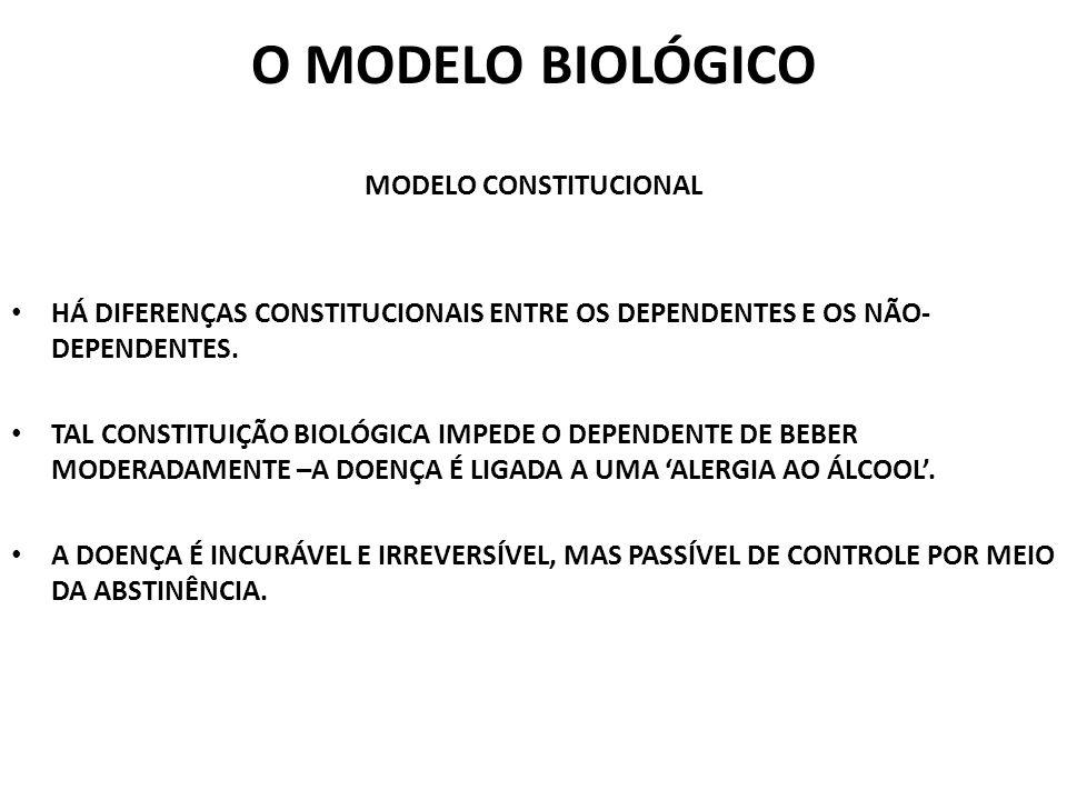 O MODELO BIOLÓGICO MODELO CONSTITUCIONAL HÁ DIFERENÇAS CONSTITUCIONAIS ENTRE OS DEPENDENTES E OS NÃO- DEPENDENTES. TAL CONSTITUIÇÃO BIOLÓGICA IMPEDE O