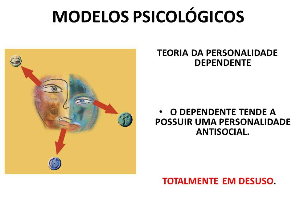 MODELOS PSICOLÓGICOS TEORIA DA PERSONALIDADE DEPENDENTE O DEPENDENTE TENDE A POSSUIR UMA PERSONALIDADE ANTISOCIAL. TOTALMENTE EM DESUSO.