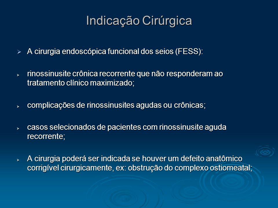 Indicação Cirúrgica A cirurgia endoscópica funcional dos seios (FESS): A cirurgia endoscópica funcional dos seios (FESS): rinossinusite crônica recorr
