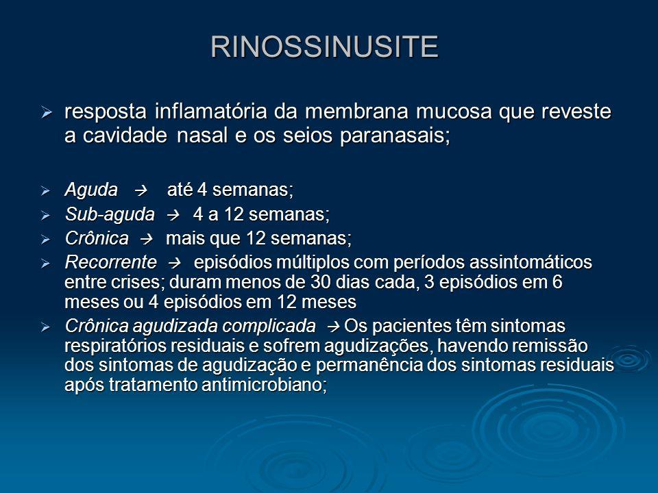 RINOSSINUSITE resposta inflamatória da membrana mucosa que reveste a cavidade nasal e os seios paranasais; resposta inflamatória da membrana mucosa qu