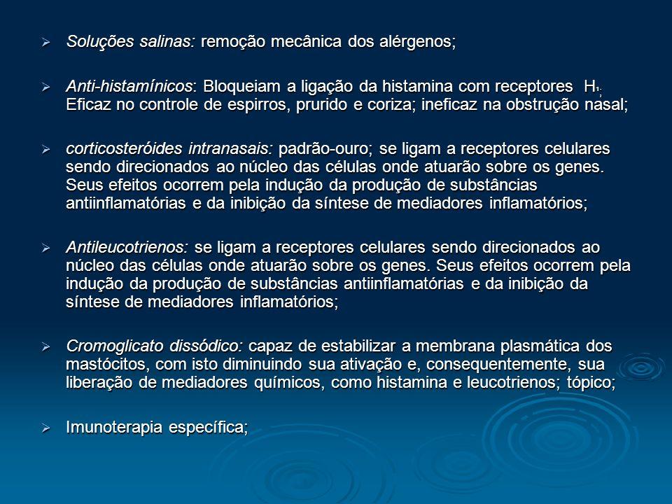 Soluções salinas: remoção mecânica dos alérgenos; Soluções salinas: remoção mecânica dos alérgenos; Anti-histamínicos: Bloqueiam a ligação da histamin