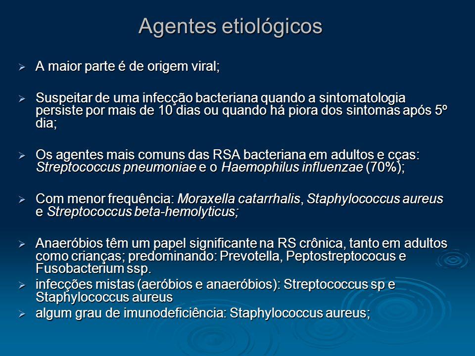 Agentes etiológicos A maior parte é de origem viral; A maior parte é de origem viral; Suspeitar de uma infecção bacteriana quando a sintomatologia per