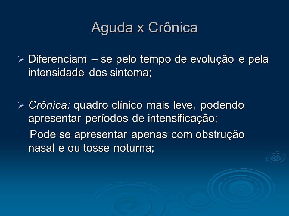 Aguda x Crônica Diferenciam – se pelo tempo de evolução e pela intensidade dos sintoma; Diferenciam – se pelo tempo de evolução e pela intensidade dos