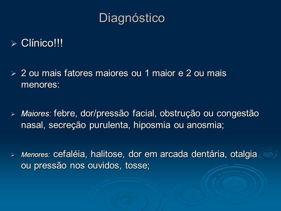 Diagnóstico Clínico!!! Clínico!!! 2 ou mais fatores maiores ou 1 maior e 2 ou mais menores: 2 ou mais fatores maiores ou 1 maior e 2 ou mais menores: