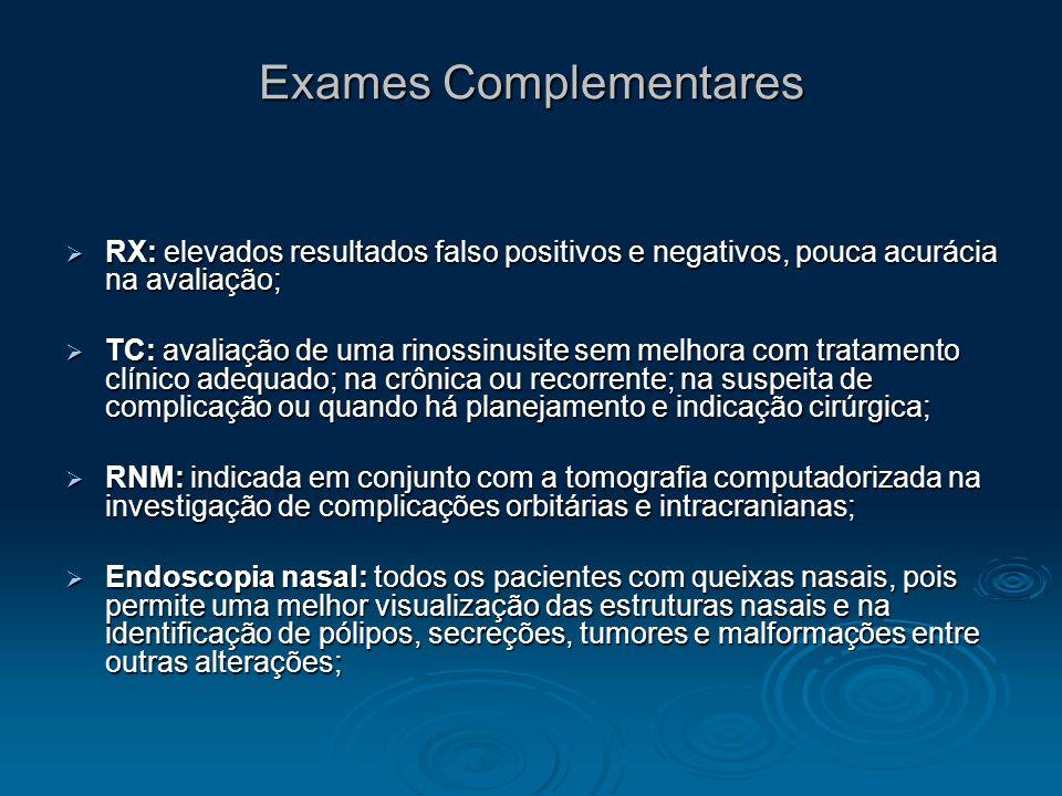 Exames Complementares RX: elevados resultados falso positivos e negativos, pouca acurácia na avaliação; RX: elevados resultados falso positivos e nega
