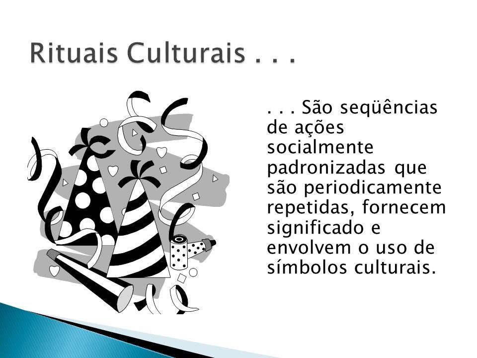 ... São seqüências de ações socialmente padronizadas que são periodicamente repetidas, fornecem significado e envolvem o uso de símbolos culturais.