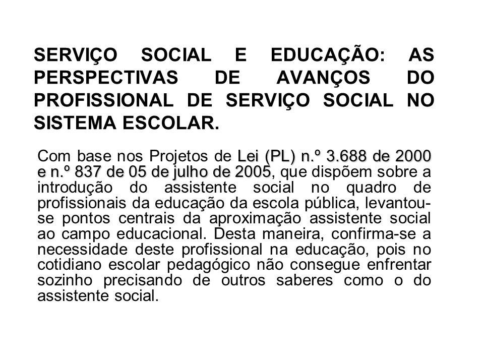 SERVIÇO SOCIAL E EDUCAÇÃO: AS PERSPECTIVAS DE AVANÇOS DO PROFISSIONAL DE SERVIÇO SOCIAL NO SISTEMA ESCOLAR. Lei (PL) n.º 3.688 de 2000 e n.º 837 de 05