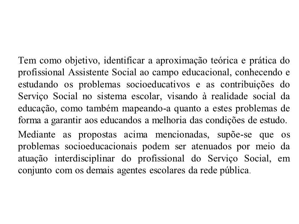Tem como objetivo, identificar a aproximação teórica e prática do profissional Assistente Social ao campo educacional, conhecendo e estudando os probl