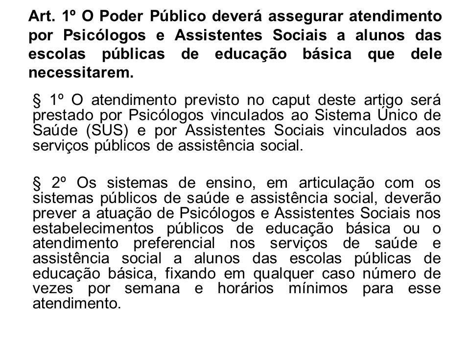 Art. 1º O Poder Público deverá assegurar atendimento por Psicólogos e Assistentes Sociais a alunos das escolas públicas de educação básica que dele ne