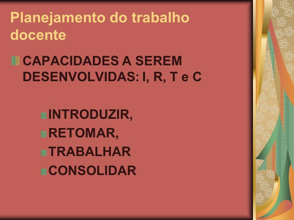 Planejamento do trabalho docente CAPACIDADES A SEREM DESENVOLVIDAS: I, R, T e C INTRODUZIR, RETOMAR, TRABALHAR CONSOLIDAR