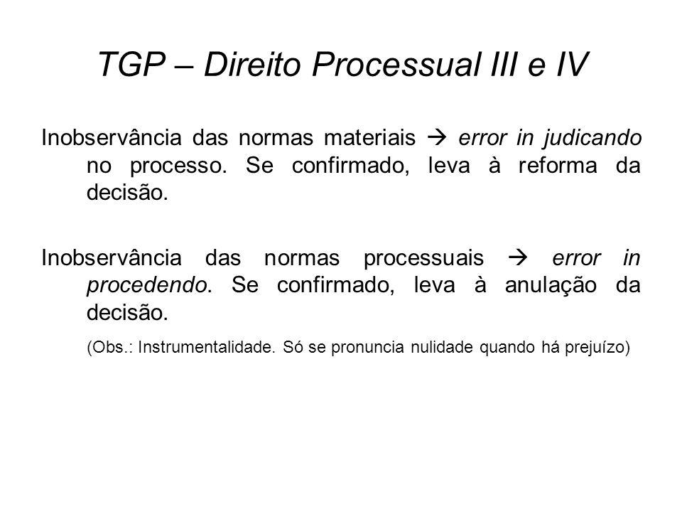 TGP – Direito Processual III e IV Inobservância das normas materiais error in judicando no processo. Se confirmado, leva à reforma da decisão. Inobser