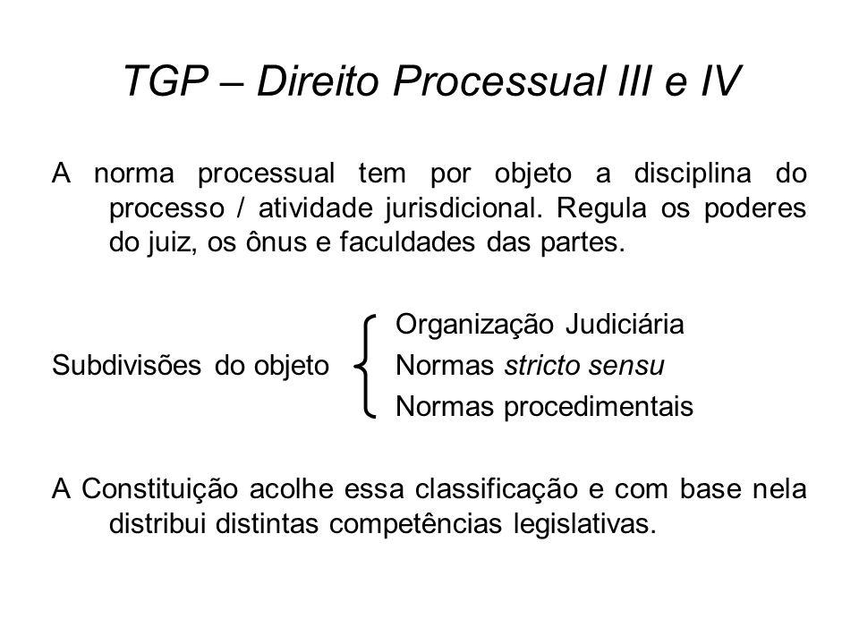 TGP – Direito Processual III e IV A norma processual tem por objeto a disciplina do processo / atividade jurisdicional. Regula os poderes do juiz, os