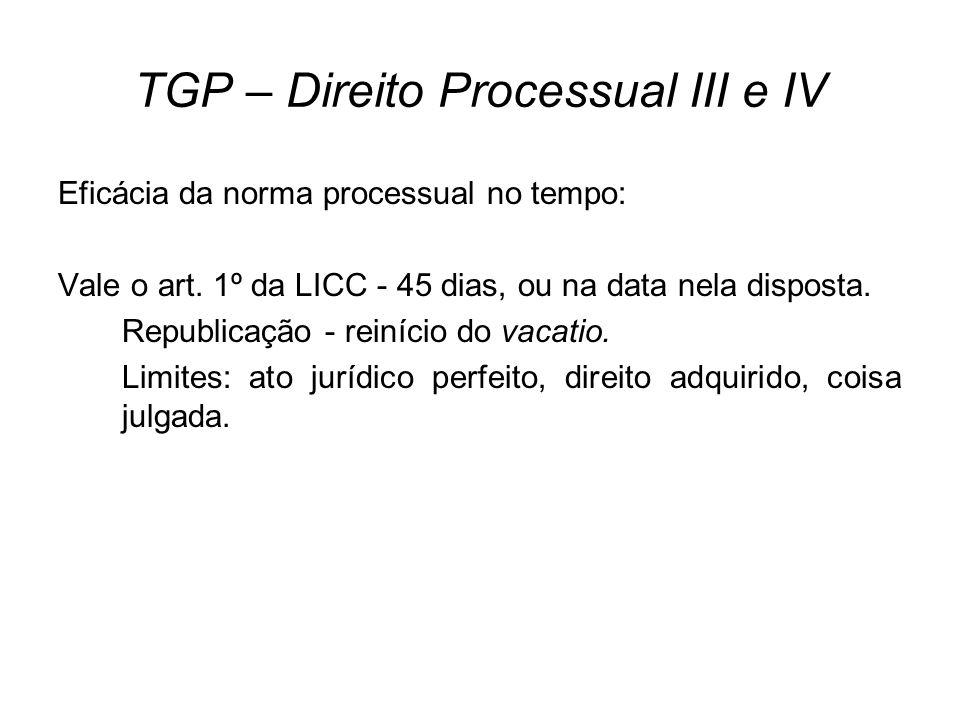 TGP – Direito Processual III e IV Eficácia da norma processual no tempo ( sucessão de leis ): Processos em curso (não-findos) Unidade processual - a lei nova se aplica apenas aos processos não iniciados.