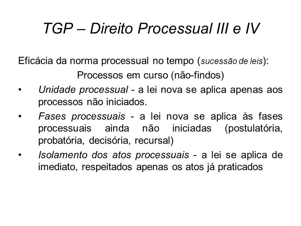 TGP – Direito Processual III e IV Eficácia da norma processual no tempo ( sucessão de leis ): Processos em curso (não-findos) Unidade processual - a l
