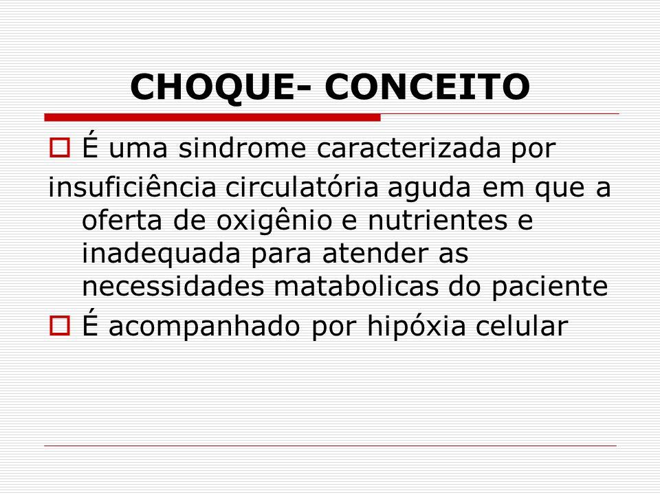 CHOQUE- CONCEITO É uma sindrome caracterizada por insuficiência circulatória aguda em que a oferta de oxigênio e nutrientes e inadequada para atender