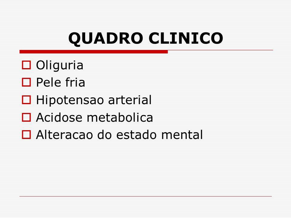 QUADRO CLINICO Oliguria Pele fria Hipotensao arterial Acidose metabolica Alteracao do estado mental