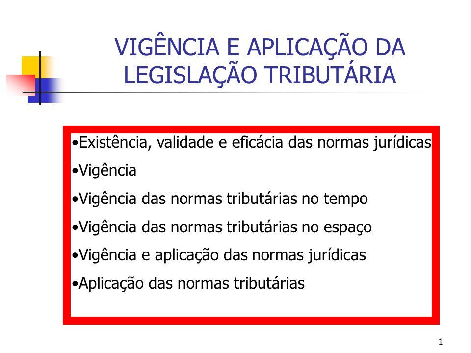 1 VIGÊNCIA E APLICAÇÃO DA LEGISLAÇÃO TRIBUTÁRIA Existência, validade e eficácia das normas jurídicas Vigência Vigência das normas tributárias no tempo
