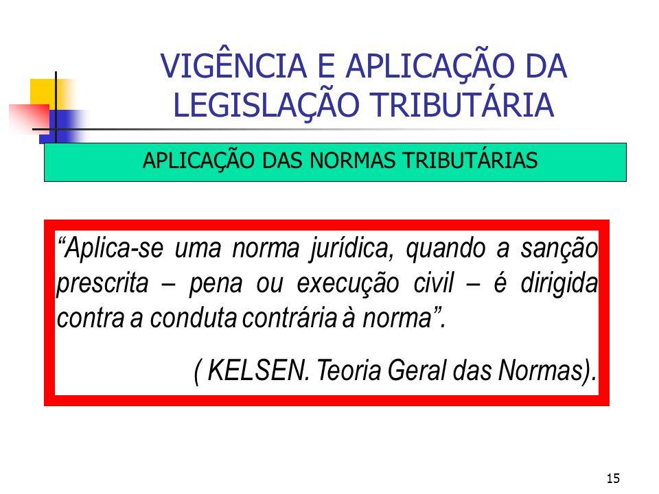 15 VIGÊNCIA E APLICAÇÃO DA LEGISLAÇÃO TRIBUTÁRIA APLICAÇÃO DAS NORMAS TRIBUTÁRIAS Aplica-se uma norma jurídica, quando a sanção prescrita – pena ou ex