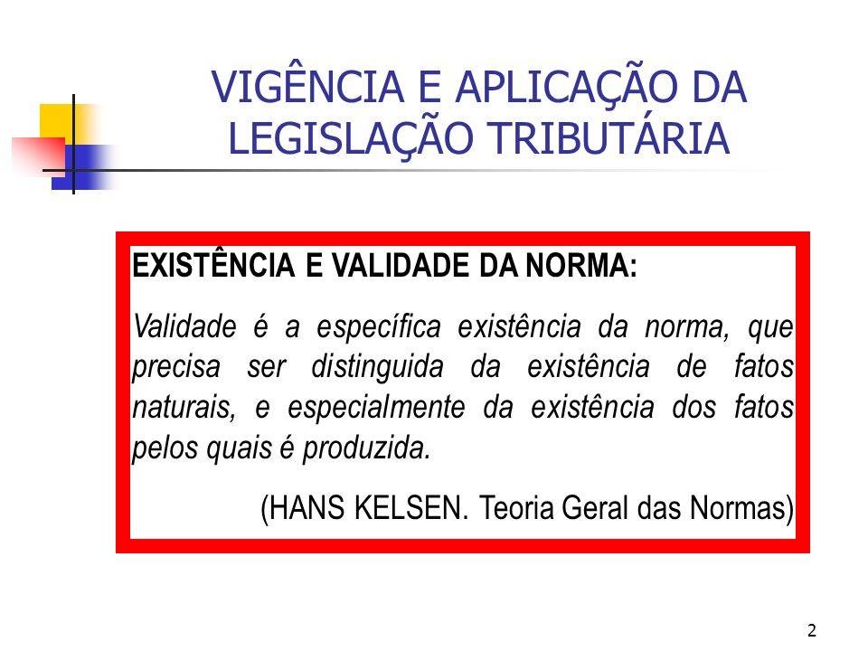 2 VIGÊNCIA E APLICAÇÃO DA LEGISLAÇÃO TRIBUTÁRIA EXISTÊNCIA E VALIDADE DA NORMA: Validade é a específica existência da norma, que precisa ser distingui