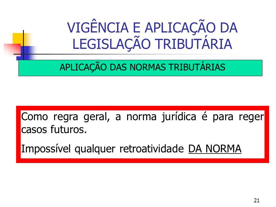 21 VIGÊNCIA E APLICAÇÃO DA LEGISLAÇÃO TRIBUTÁRIA APLICAÇÃO DAS NORMAS TRIBUTÁRIAS Como regra geral, a norma jurídica é para reger casos futuros. Impos