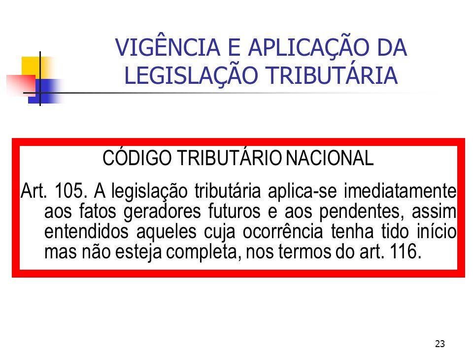 23 VIGÊNCIA E APLICAÇÃO DA LEGISLAÇÃO TRIBUTÁRIA CÓDIGO TRIBUTÁRIO NACIONAL Art. 105. A legislação tributária aplica-se imediatamente aos fatos gerado
