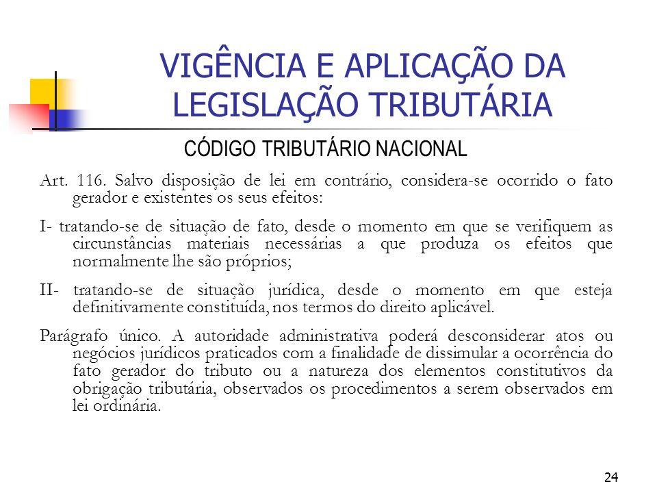 24 VIGÊNCIA E APLICAÇÃO DA LEGISLAÇÃO TRIBUTÁRIA CÓDIGO TRIBUTÁRIO NACIONAL Art. 116. Salvo disposição de lei em contrário, considera-se ocorrido o fa