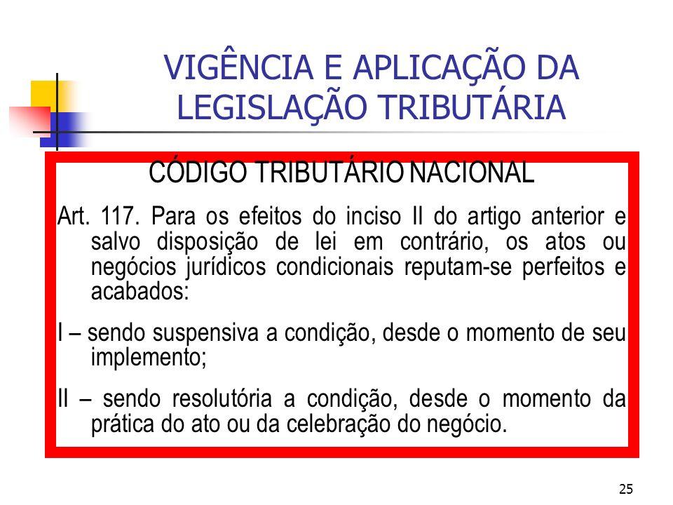 25 VIGÊNCIA E APLICAÇÃO DA LEGISLAÇÃO TRIBUTÁRIA CÓDIGO TRIBUTÁRIO NACIONAL Art. 117. Para os efeitos do inciso II do artigo anterior e salvo disposiç