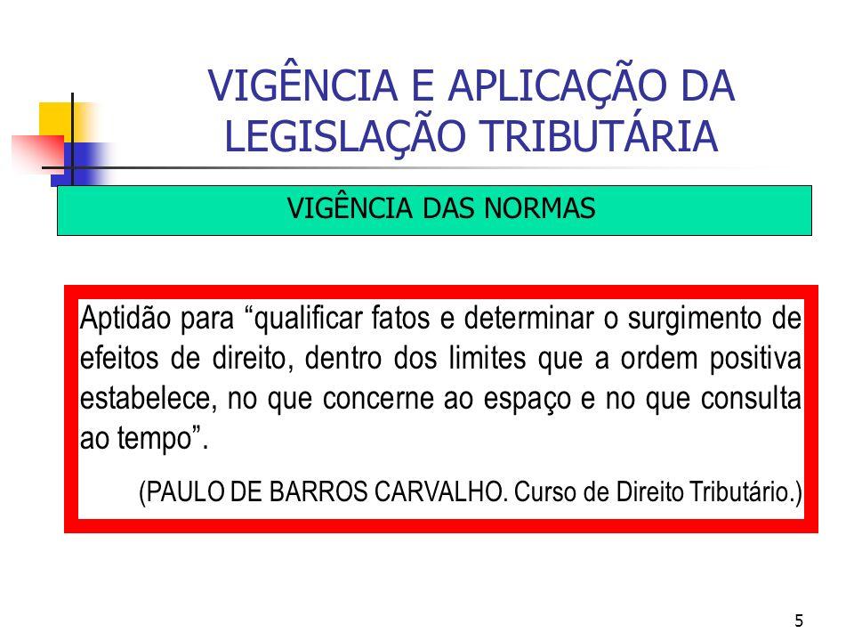 5 VIGÊNCIA E APLICAÇÃO DA LEGISLAÇÃO TRIBUTÁRIA VIGÊNCIA DAS NORMAS Aptidão para qualificar fatos e determinar o surgimento de efeitos de direito, den