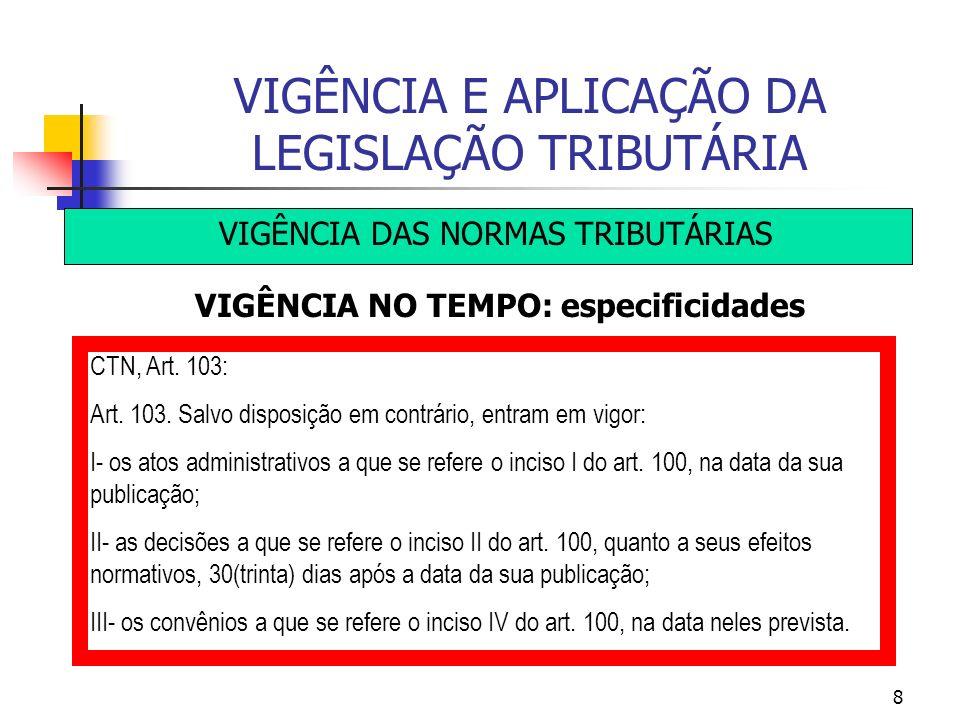 8 VIGÊNCIA E APLICAÇÃO DA LEGISLAÇÃO TRIBUTÁRIA VIGÊNCIA DAS NORMAS TRIBUTÁRIAS VIGÊNCIA NO TEMPO: especificidades CTN, Art. 103: Art. 103. Salvo disp