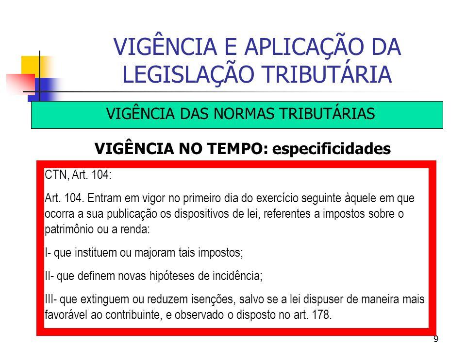9 VIGÊNCIA E APLICAÇÃO DA LEGISLAÇÃO TRIBUTÁRIA VIGÊNCIA DAS NORMAS TRIBUTÁRIAS VIGÊNCIA NO TEMPO: especificidades CTN, Art. 104: Art. 104. Entram em