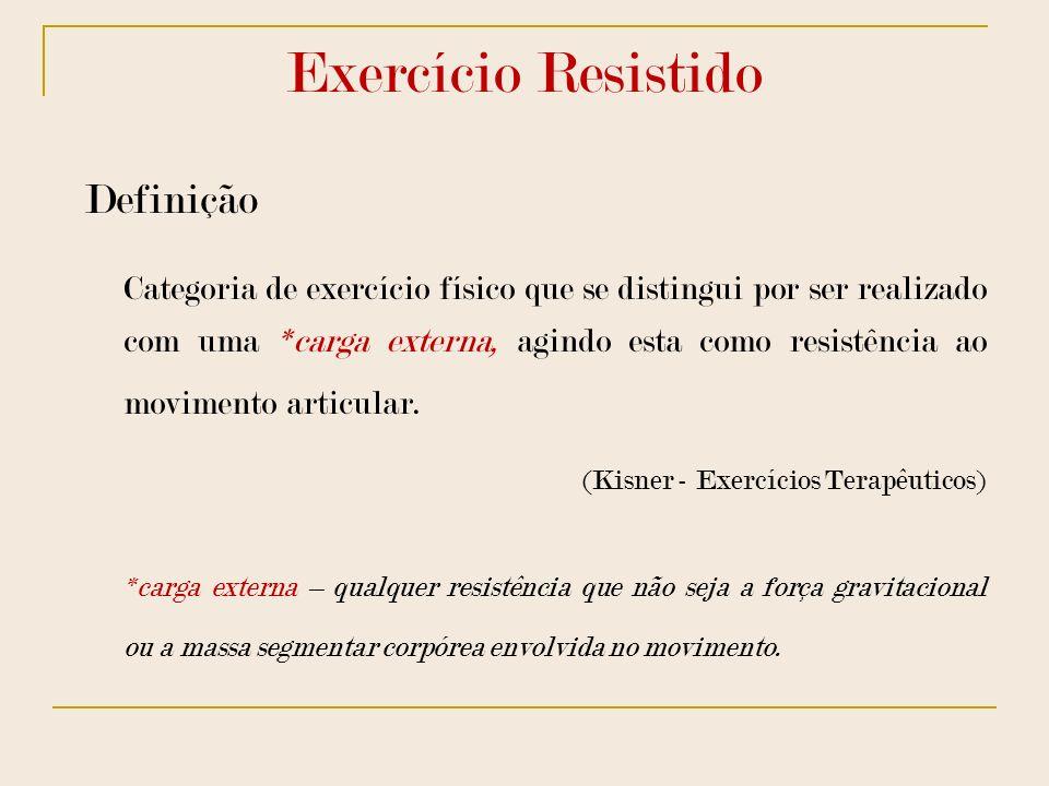 Exercício Resistido Definição Categoria de exercício físico que se distingui por ser realizado com uma *carga externa, agindo esta como resistência ao