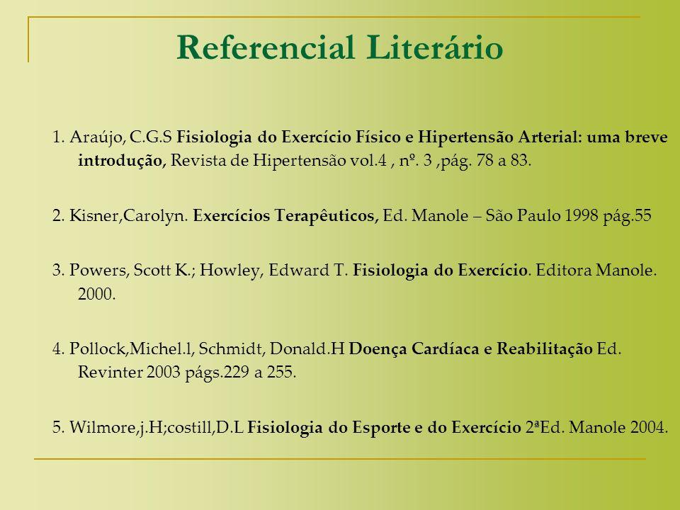 Referencial Literário 1. Araújo, C.G.S Fisiologia do Exercício Físico e Hipertensão Arterial: uma breve introdução, Revista de Hipertensão vol.4, nº.