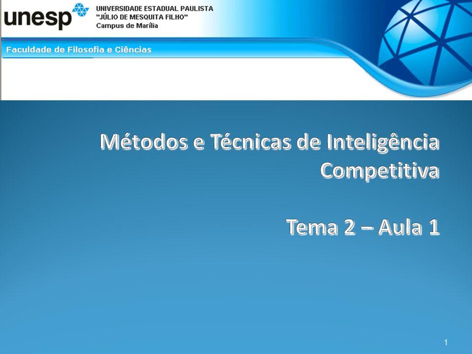 Bibliografia Tarapanoff, Kira. Inteligência organizacional e competitiva. (2001) p. 164-278. 2