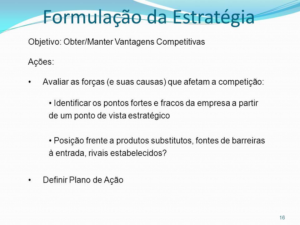 16 Objetivo: Obter/Manter Vantagens Competitivas Ações: Avaliar as forças (e suas causas) que afetam a competição: Identificar os pontos fortes e frac