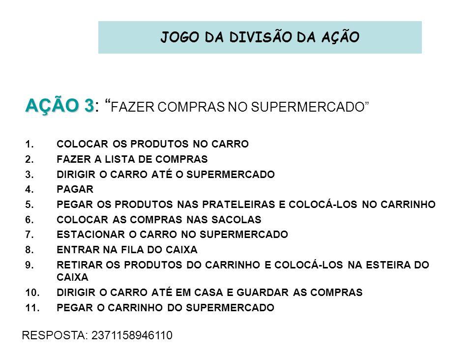 AÇÃO 3 AÇÃO 3: FAZER COMPRAS NO SUPERMERCADO 1.COLOCAR OS PRODUTOS NO CARRO 2.FAZER A LISTA DE COMPRAS 3.DIRIGIR O CARRO ATÉ O SUPERMERCADO 4.PAGAR 5.